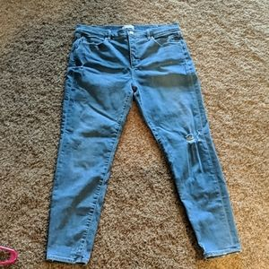 Loft Lightly Distressed High Waist Skinny Jeans